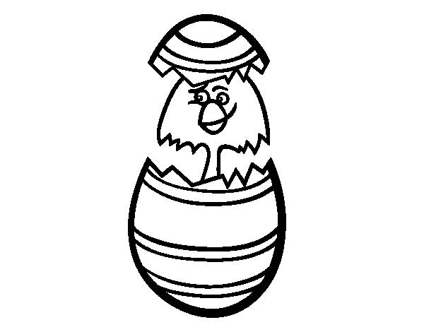 Dibujo de Pollito en un huevo de pascua para Colorear - Dibujos.net
