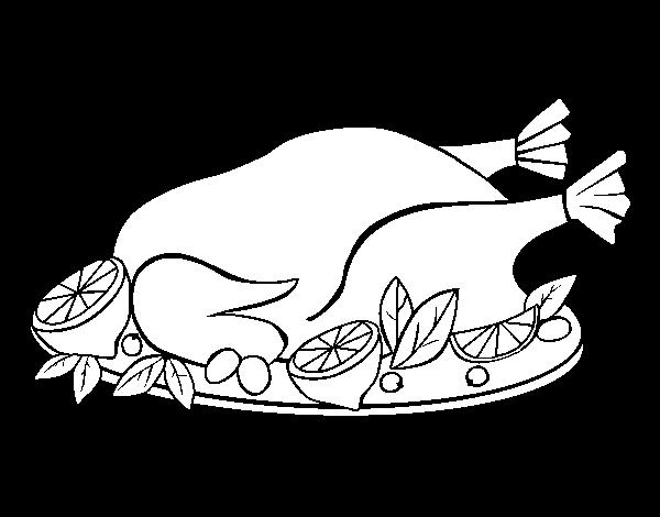 Dibujo De Pollo Con Guarnición Para Colorear Dibujosnet