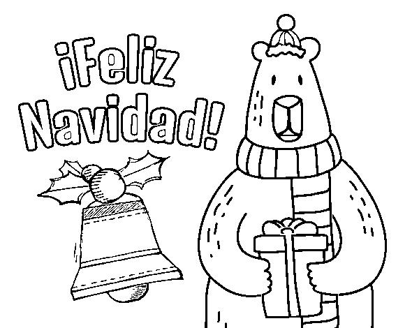 Dibujo De Postal Feliz Navidad Para Colorear Dibujosnet - Postales-navidad-dibujos