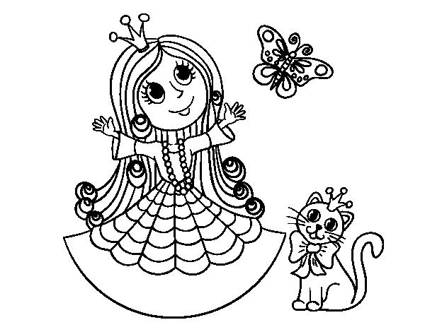 Dibujo de Princesa con gato y mariposa para Colorear - Dibujos.net