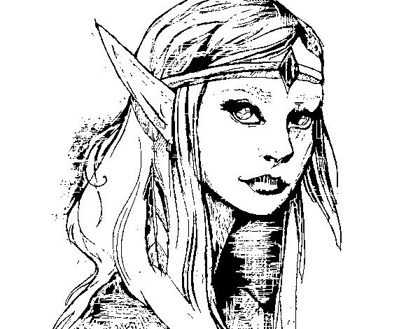 Dibujo De Princesa Elfo Para Colorear Dibujosnet