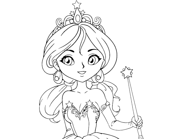 Dibujo De Princesa Mágica Para Colorear Dibujosnet