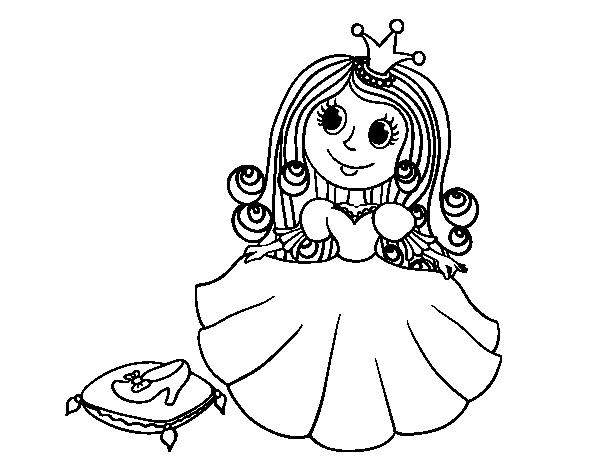 Dibujo De Princesa Y Zapato De Cristal Para Colorear