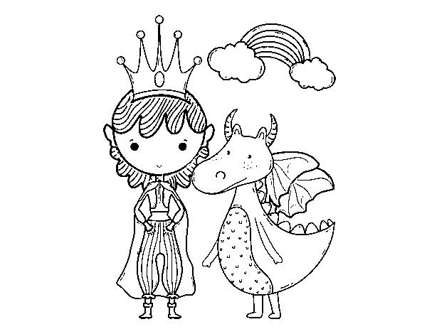Dragones Feroces Para Colorear: Dibujo De Príncipe Y Dragón Para Colorear