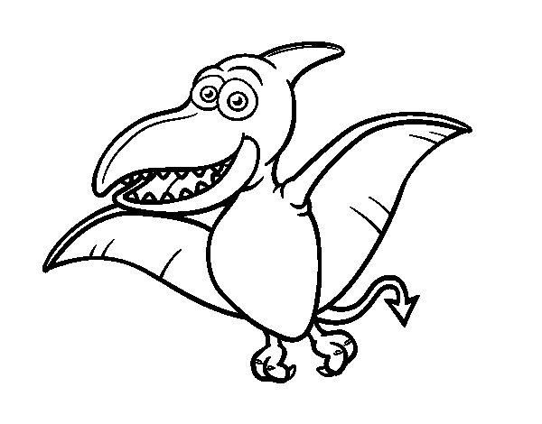 58 Dinosaurios Para Colorear Y Pintar Descargar E: Dibujo De Pterosaurio Para Colorear