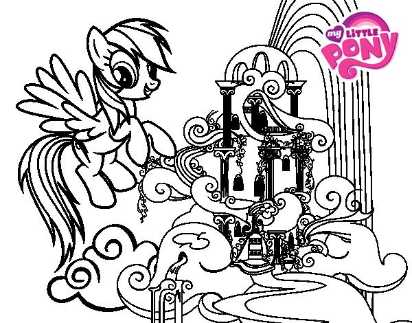 Dibujo de Rainbow Dash en su palacio para Colorear - Dibujos.net