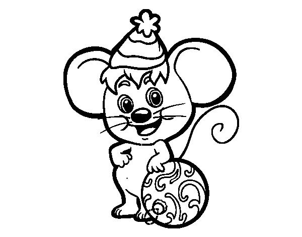 Dibujo De Raton Con Gorro De Navidad Para Colorear Dibujos Net