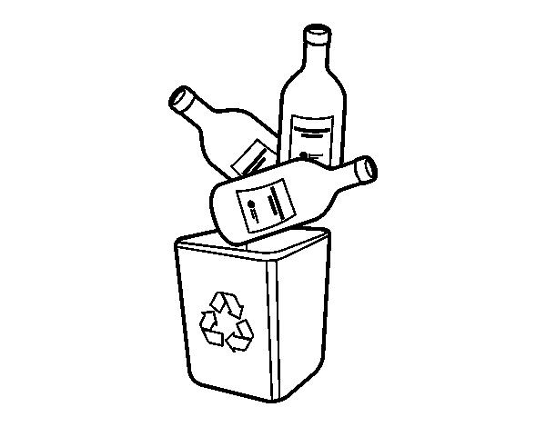 Dibujo De Reciclaje De Vidrio Para Colorear Dibujosnet