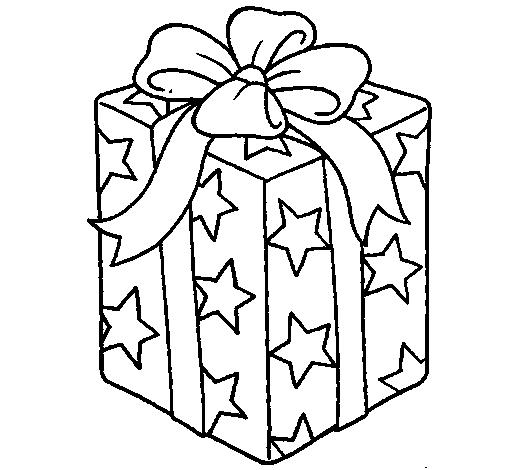 Dibujo de Regalo envuelto en papel de estrellas para Colorear ...