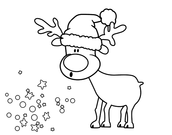 Dibujo de Reno con gorro para Colorear - Dibujos.net