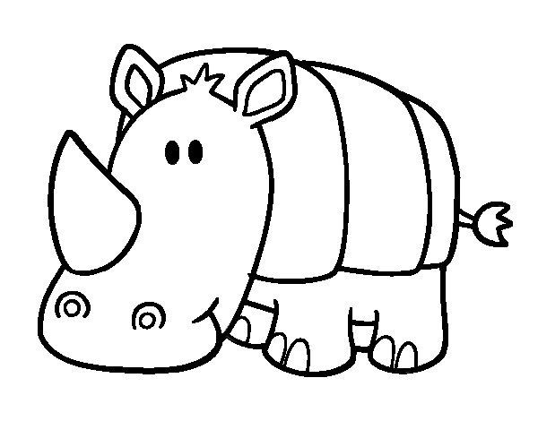 Dibujo de Rinoceronte bebé para Colorear - Dibujos.net