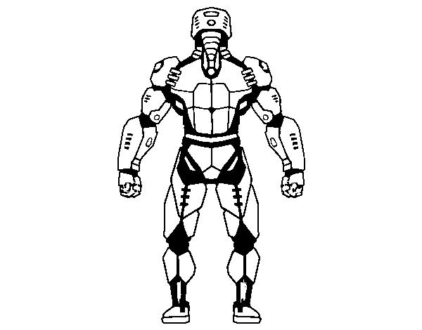 Dibujo De Robot Luchador De Espaldas Para Colorear Dibujosnet