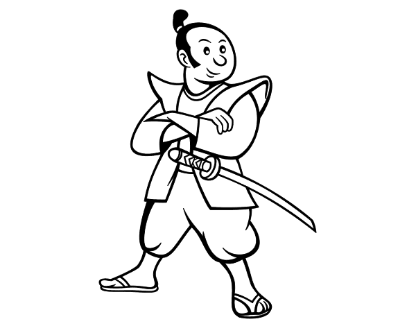 Dibujo de Samurái adulto para Colorear - Dibujos.net