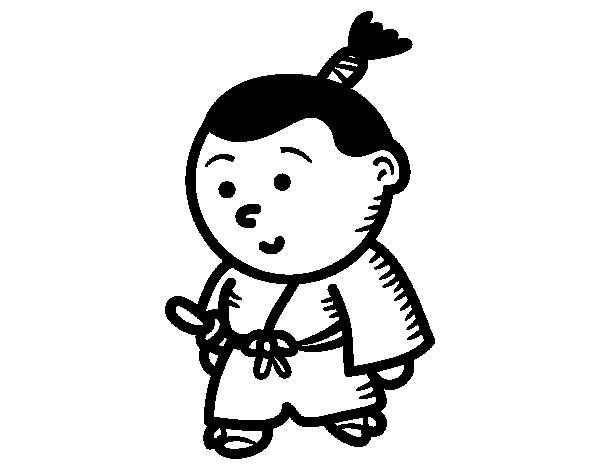 Dibujo de Samurái niño para Colorear - Dibujos.net