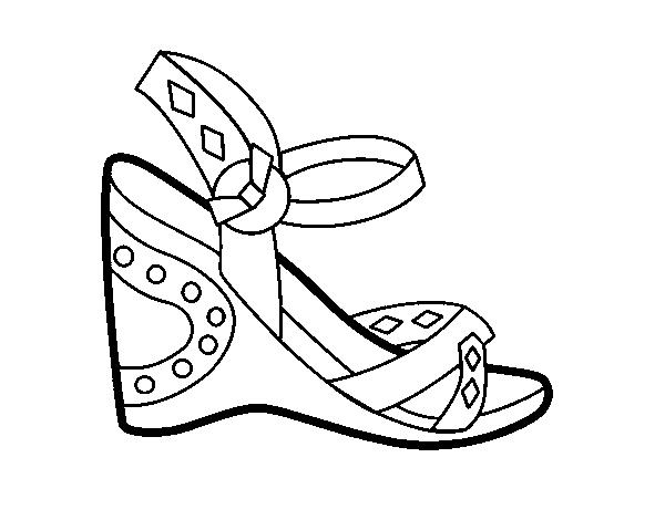Dibujo de Sandalia con cuña para Colorear - Dibujos.net