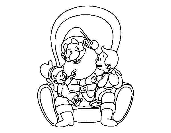 Dibujo De Santa Claus Con Niños Para Colorear Dibujosnet