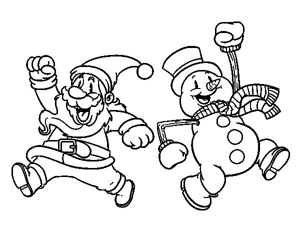 Dibujo de Santa Claus y muñeco de nieve saltando para Colorear ...