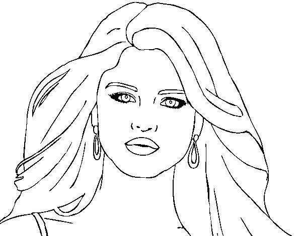 Dibujo de Selena Gomez primer plano para Colorear - Dibujos.net