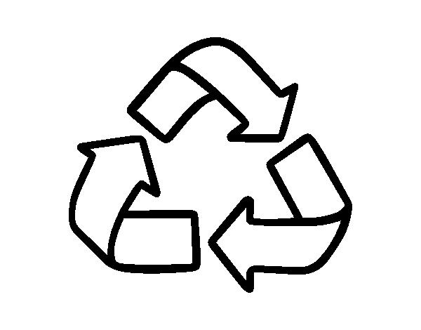 Dibujo de Símbolo del reciclaje para Colorear - Dibujos.net