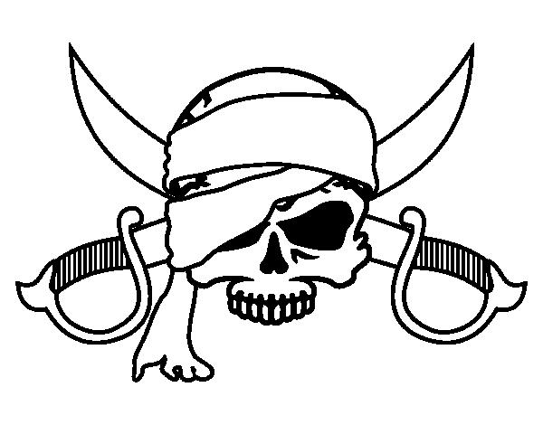 Dibujo de Símbolo pirata para Colorear - Dibujos.net