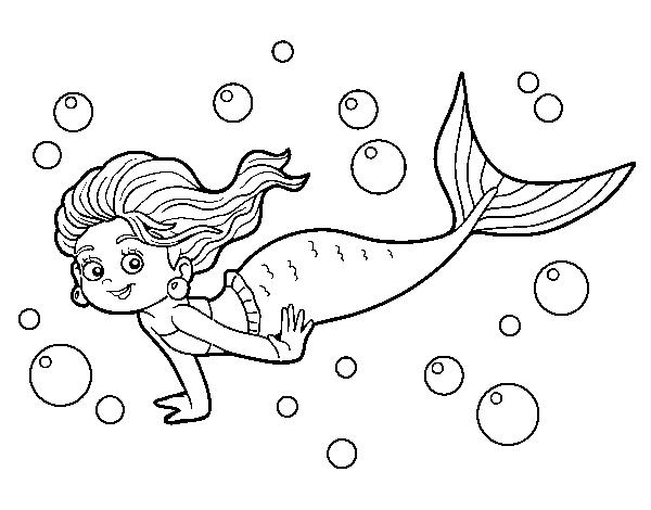 Dibujo de Sirena del mar para Colorear - Dibujos.net