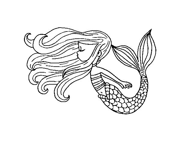 Dibujos De Sirenas Para Colorear Pintar E Imprimir: Dibujo De Sirena Flotando Para Colorear