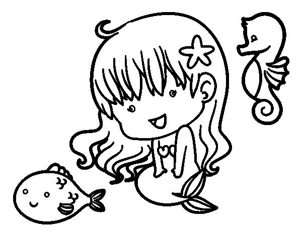 Dibujo de Sirenita y sus amigos para Colorear - Dibujos.net