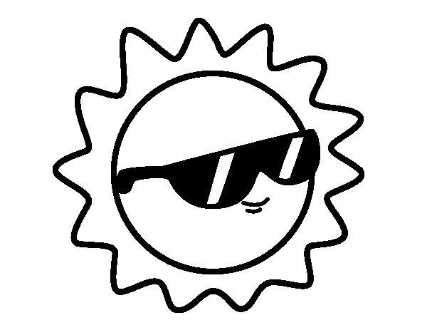 Dibujos Del Sol Para Colorear E Imprimir: Dibujo De Sol Con Gafas Para Colorear