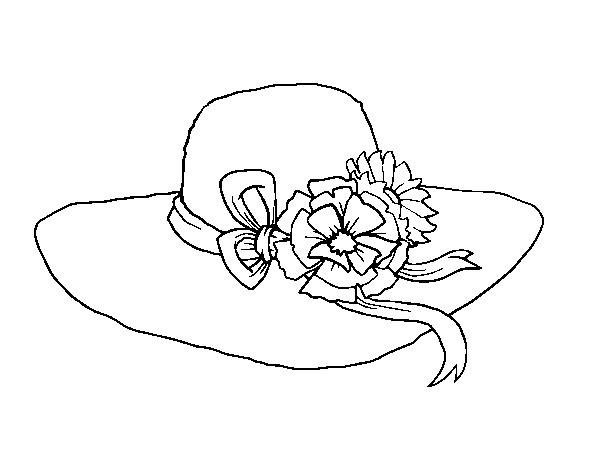 Dibujo de Sombrero con flores para Colorear - Dibujos.net
