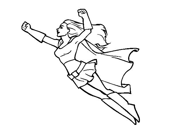 Dibujo de Súper chica volando para Colorear - Dibujos.net