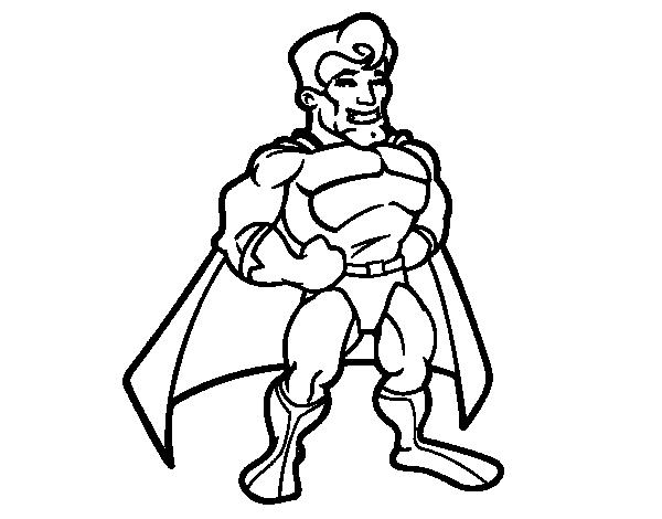 Dibujo de Superhéroe musculado para Colorear - Dibujos.net