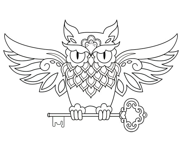 Dibujo de Tatuaje de búho con llave para Colorear - Dibujos.net