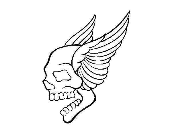 Dibujo De Tatuaje De Calavera Con Alas Para Colorear