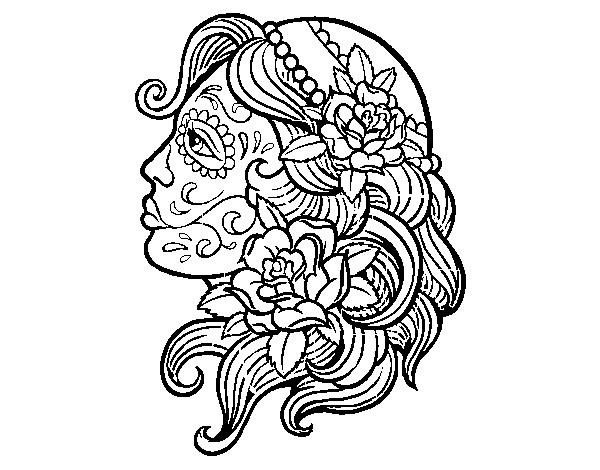 Dibujo De Tatuaje De Catrina Para Colorear Dibujosnet