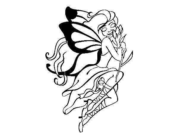 Dibujo de Tatuaje de hada para Colorear Dibujosnet