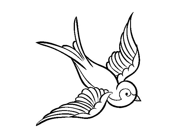 Dibujo de Tatuaje de pájaro para Colorear - Dibujos.net