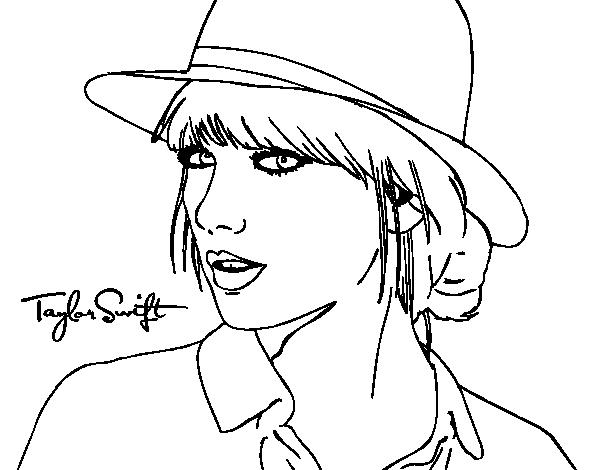 Dibujo de Taylor Swift con sombrero para Colorear - Dibujos.net