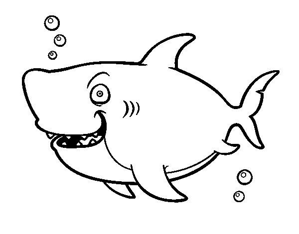 Dibujos Animados De Tiburones Para Colorear: Dibujo De Tiburón Ballena Para Colorear