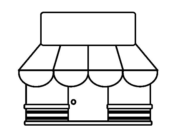 Dibujo De Tienda Con Toldo Para Colorear Dibujosnet