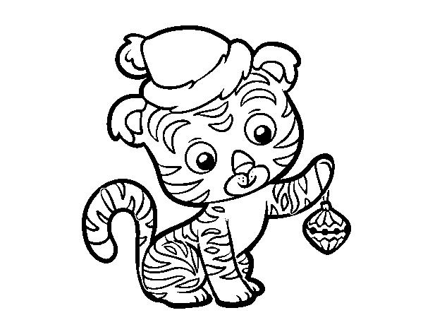 Dibujo De Tigre Navideño Para Colorear Dibujosnet