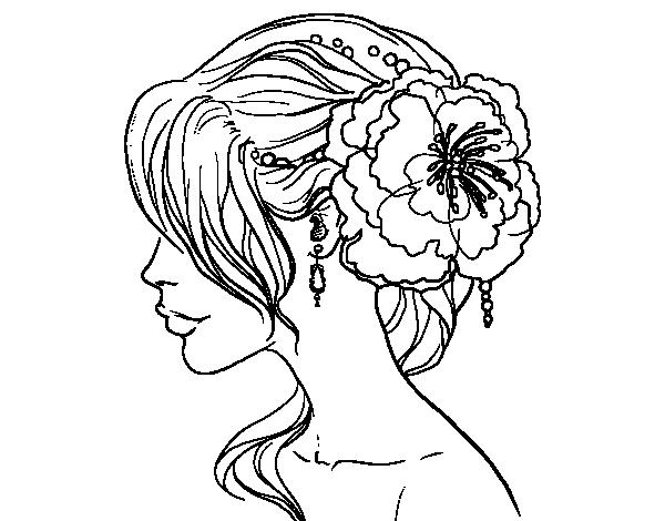 Dibujo de Tocado de novia con flor para Colorear - Dibujos.net