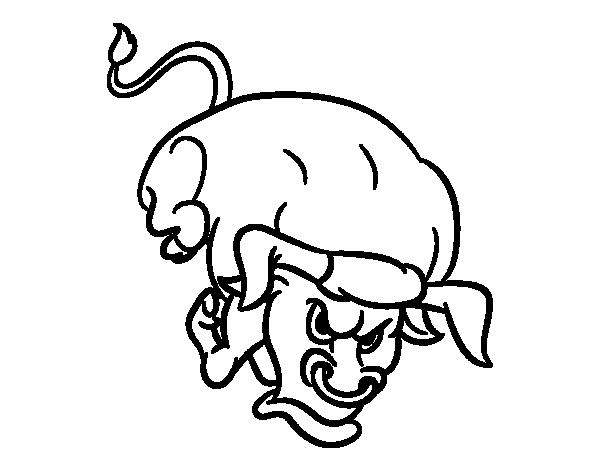 Dibujo de Toro con largos cuernos para Colorear - Dibujos.net