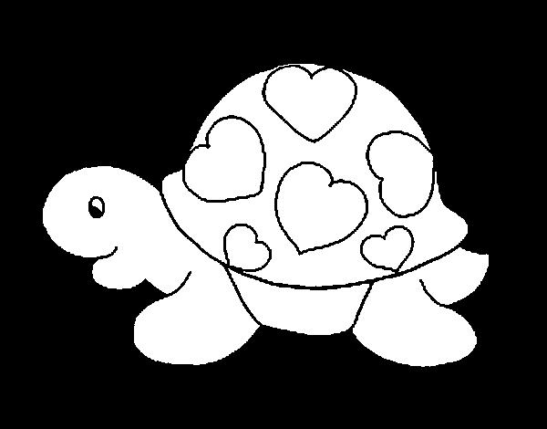 Dibujo de Tortuga con corazones para Colorear - Dibujos.net