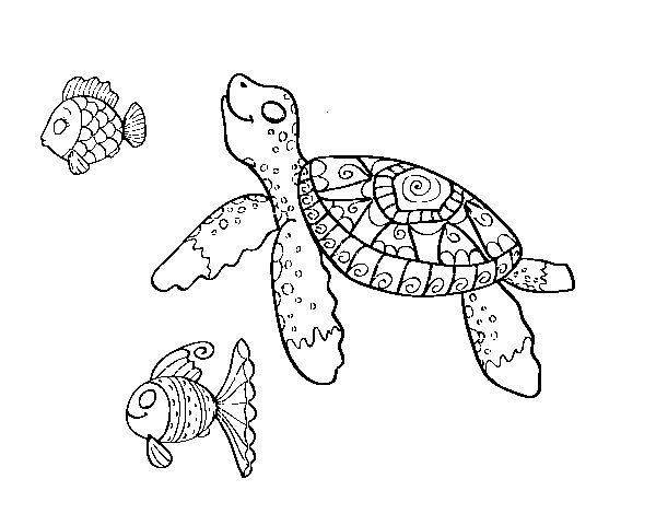 Dibujo de Tortuga de mar con peces para Colorear - Dibujos.net