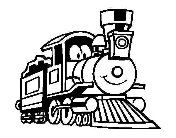 Dibujo de Tren divertido para Colorear - Dibujos.net