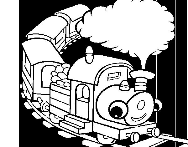 Dibujo De Tren Sonriente Para Colorear Dibujosnet