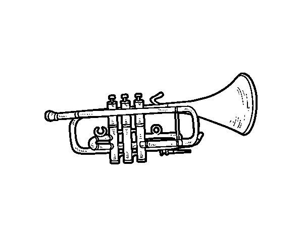 dibujo de trompeta baja para colorear  dibujos