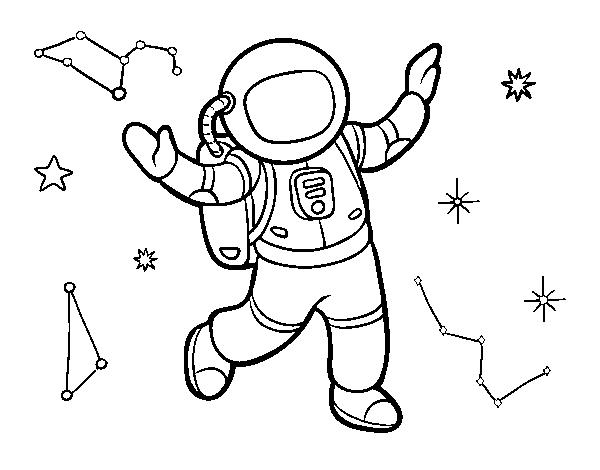 Dibujo de Un astronauta en el espacio estelar para Colorear ...