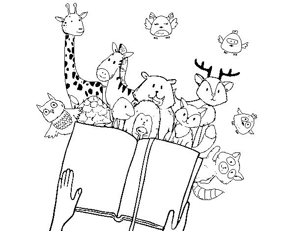 Dibujo De Lecturas De Colegio Para Colorear: Dibujo De Un Cuento De Animales Para Colorear