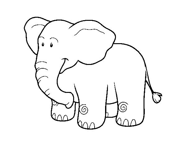 Dibujo de Un elefante africano para Colorear - Dibujos.net